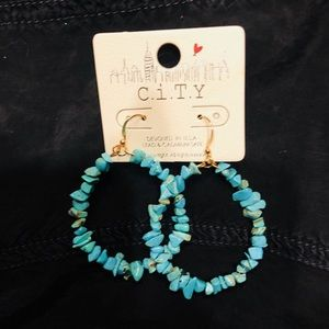 Turquoise stone hoop earrings